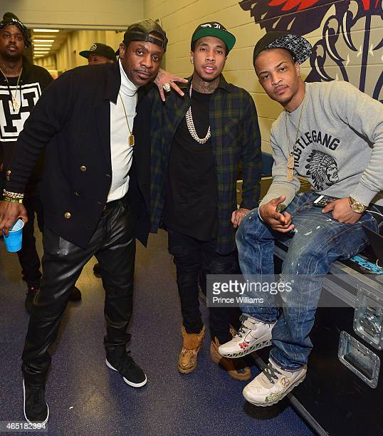 Keith Sweat Tyga and TI backstage at Phillips Arena on March 2 2015 in Atlanta Georgia