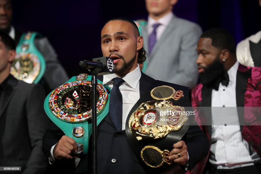Keith Thurman addresses the media during the 2018 Showtime Championship Boxing Event at Cipriani 42nd Street on January 24, 2018 in New York City.