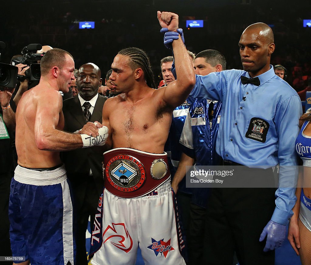 Keith Thurman is congratulated by Jan Zaveck after the WBO Inter-Continental Welterweight Title fight on March 9, 2013 at Barclays Center in the Brooklyn borough of New York City.