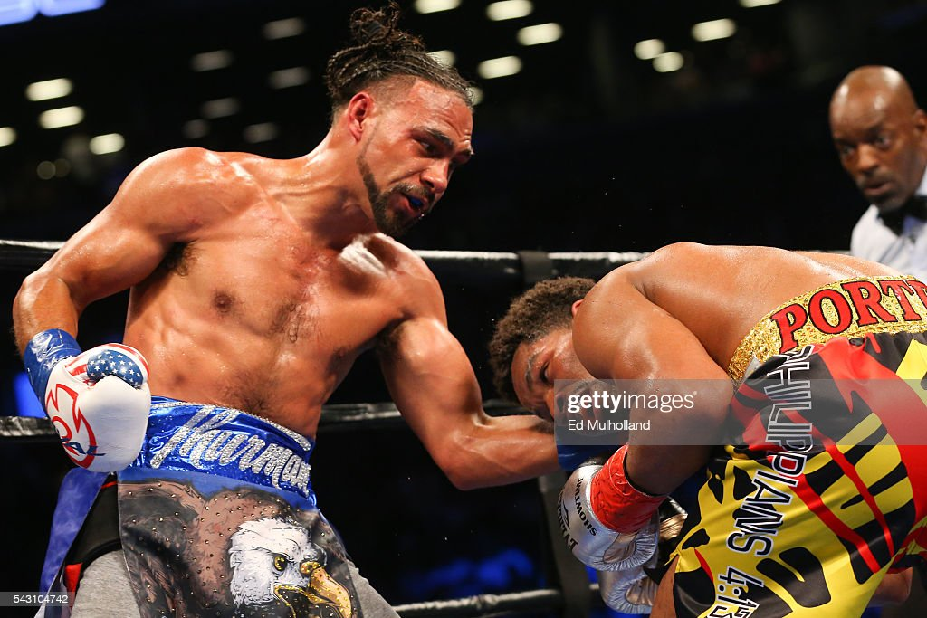 Keith Thurman (left) lands a left hand to the head of Shawn Porter (right) during their 12 round WBA welterweight championship bout at the Barclays Center on June 25, 2016 in the Brooklyn borough of New York City.