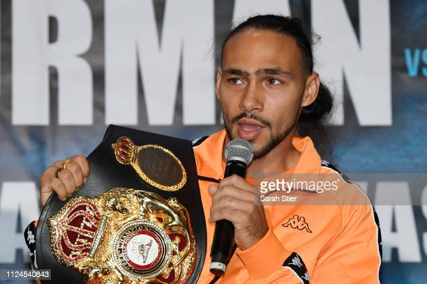 Keith Thurman speaks during the press conference before his WBA Welterweight title fight against Josesito Lopez at Barclays Center on January 24 2019...