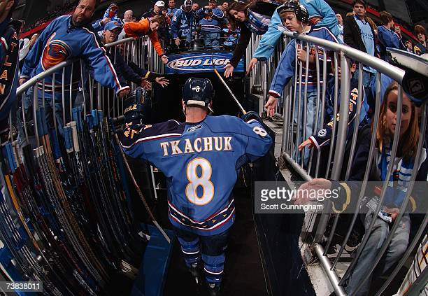 Keith Tkachuk of the Atlanta Thrashers heads to the locker room after warmups for the game against the Tampa Bay Lightning on April 7 2007 at Philips...