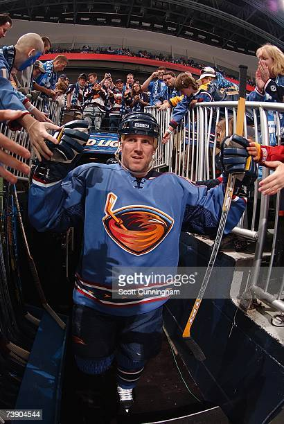 Keith Tkachuk of the Atlanta Thrashers walks to the ice for warmups before the game against the New York Rangers during Game 1 of the 2007 Eastern...