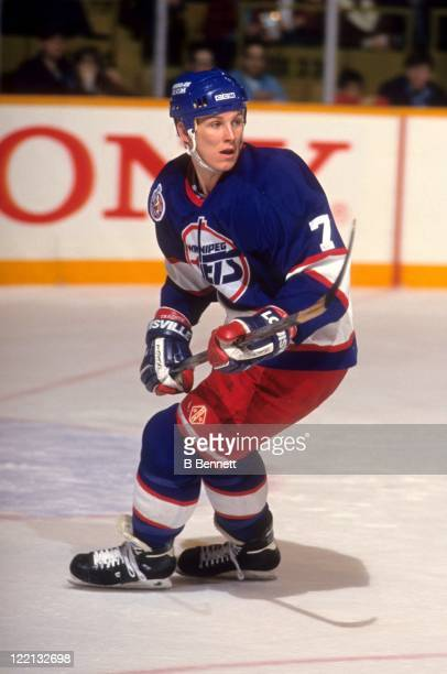 Keith Tkachuk of the Winnipeg Jets skates on the ice during an NHL game circa 1993