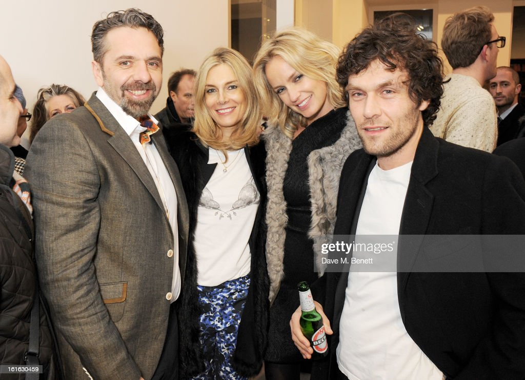 Keith Tyson, Kim Hersov, guest and Barry Reigate attend a private view of 'Mat Collishaw: This Is Not An Exit' at Blaine/Southern Gallery on February 13, 2013 in London, England.