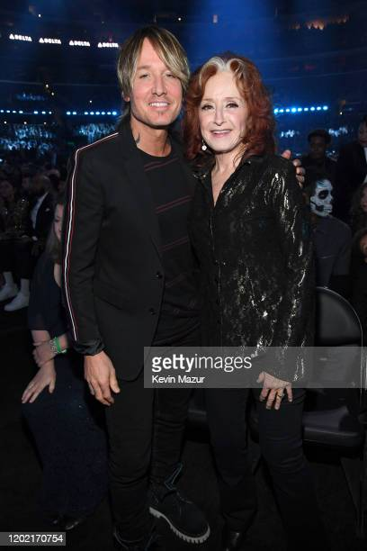 Keith Urban and Bonnie Raitt during the 62nd Annual GRAMMY Awards at STAPLES Center on January 26, 2020 in Los Angeles, California.
