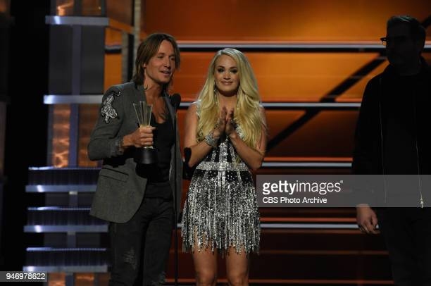 Keith Urban and Carrie Underwood accept the award for Vocal Event of the Year at the 53RD ACADEMY OF COUNTRY MUSIC AWARDS live from the MGM Grand...