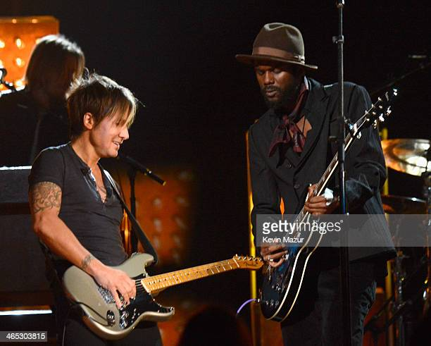 Keith Urban and Gary Clark Jr perform onstage during the 56th GRAMMY Awards at Staples Center on January 26 2014 in Los Angeles California