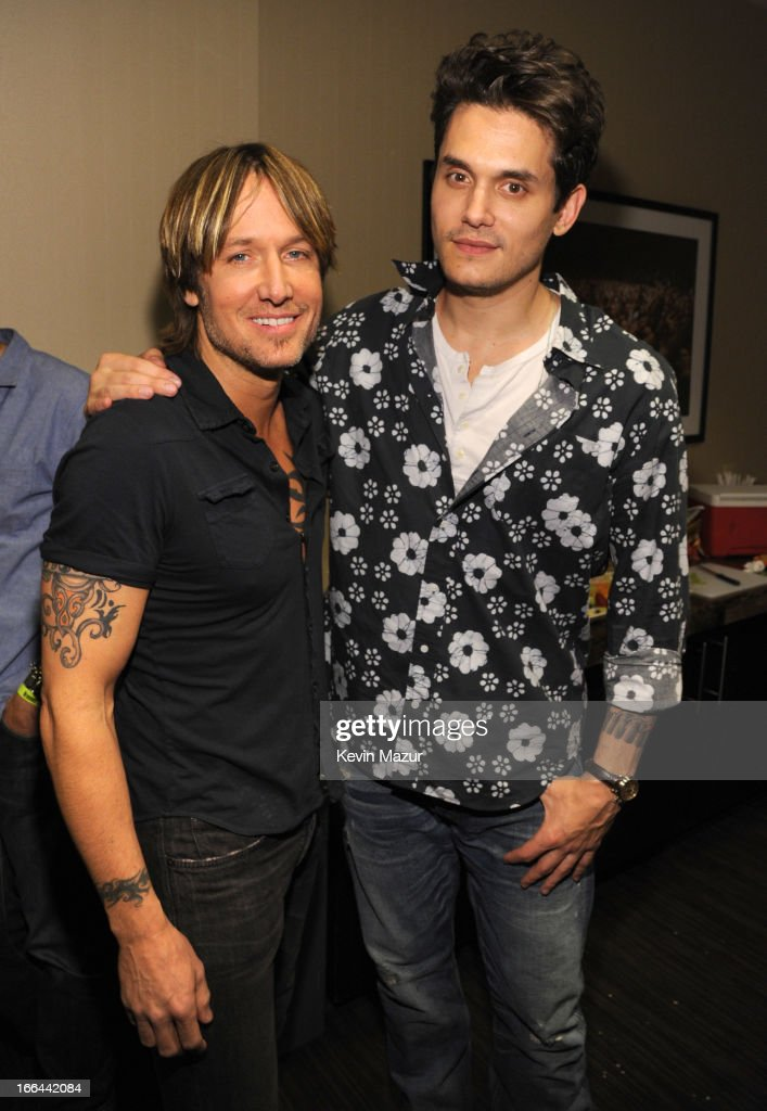 Keith Urban and John Mayer backstage during the 2013 Crossroads Guitar Festival at Madison Square Garden on April 12, 2013 in New York City.