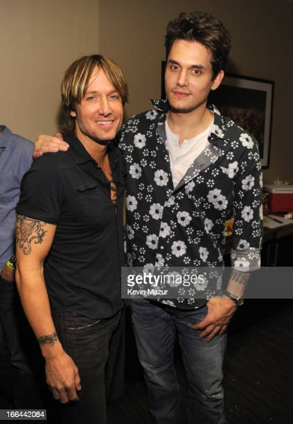 Keith Urban and John Mayer backstage during the 2013 Crossroads Guitar Festival at Madison Square Garden on April 12 2013 in New York City