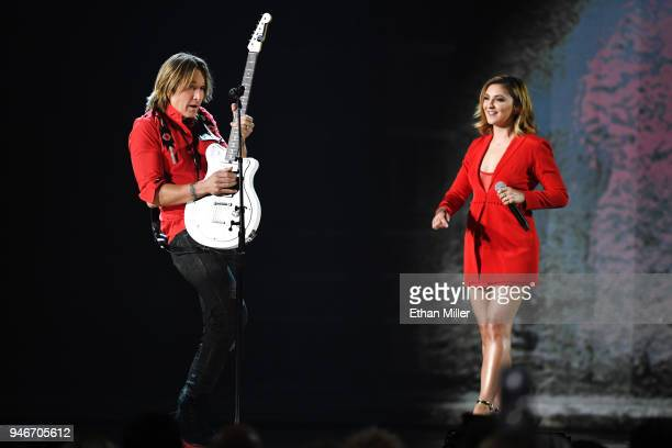 Keith Urban and Julia Michaels perform onstage during the 53rd Academy of Country Music Awards at MGM Grand Garden Arena on April 15 2018 in Las...