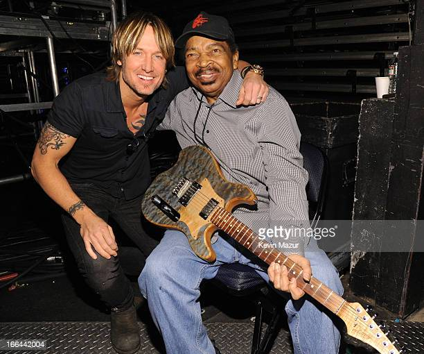 Keith Urban and Matt Murphy backstage during the 2013 Crossroads Guitar Festival at Madison Square Garden on April 12 2013 in New York City