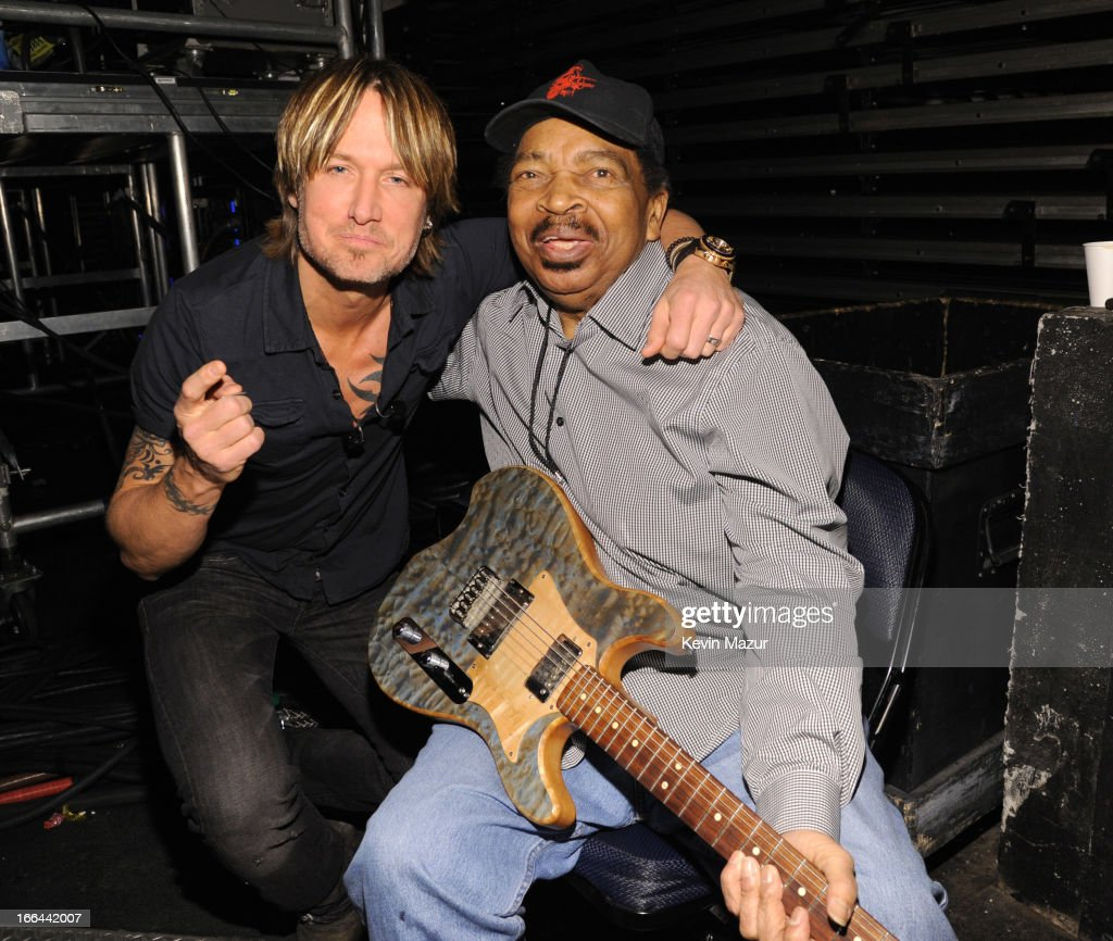 Keith Urban and Matt Murphy backstage during the 2013 Crossroads Guitar Festival at Madison Square Garden on April 12, 2013 in New York City.