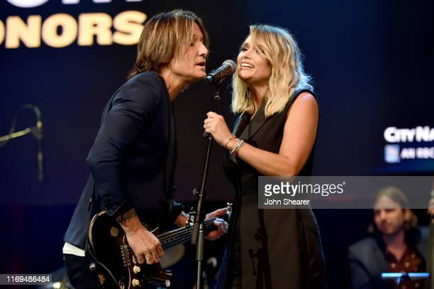 Keith Urban and Miranda Lambert perform on stage during the 13th Annual ACM Honors at Ryman Auditorium on August 21 2019 in Nashville Tennessee
