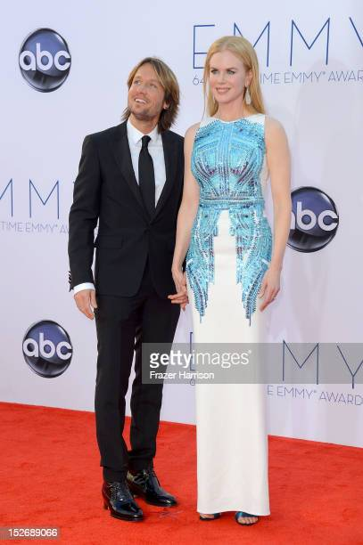 Keith Urban and Nicole Kidman arrive at the 64th Annual Primetime Emmy Awards at Nokia Theatre LA Live on September 23 2012 in Los Angeles California