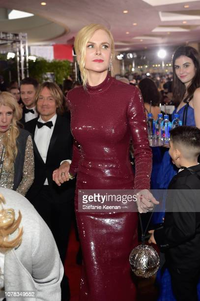 Keith Urban and Nicole Kidman attend FIJI Water at the 76th Annual Golden Globe Awards on January 6, 2019 at the Beverly Hilton in Los Angeles,...
