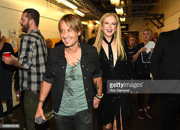Keith Urban and Nicole Kidman attend the 2016 CMT Music awards at the Bridgestone Arena on June 8 2016 in Nashville Tennessee
