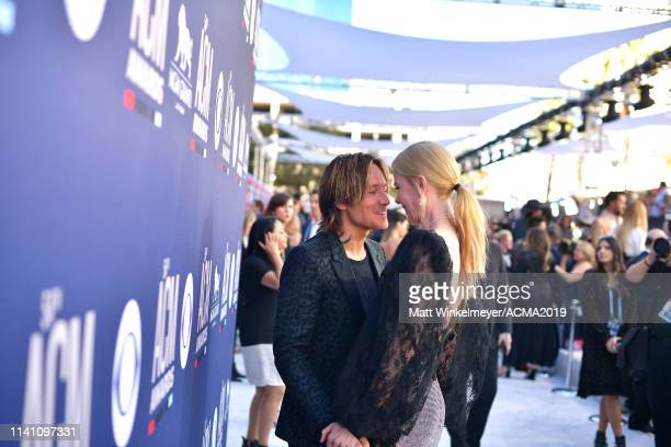 Keith Urban and Nicole Kidman attend the 54th Academy Of Country Music Awards at MGM Grand Garden Arena on April 07 2019 in Las Vegas Nevada