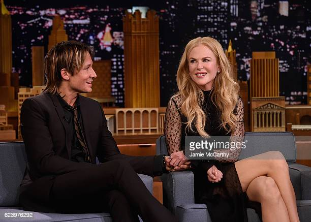 Keith Urban and Nicole Kidman during a segment on The Tonight Show Starring Jimmy Fallon at Rockefeller Center on November 16 2016 in New York City