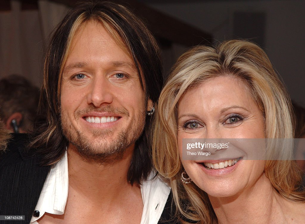 Keith Urban and Olivia Newton-John during The 39th Annual CMA Awards - Capital Records Post Party - Red Carpet and Inside at Nikki Beach in New York City, New York, United States.