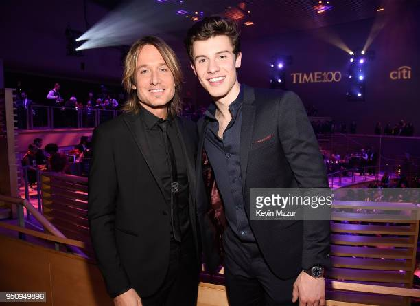 Keith Urban and Shawn Mendes attend the 2018 Time 100 Gala at Jazz at Lincoln Center on April 24 2018 in New York CityÊ