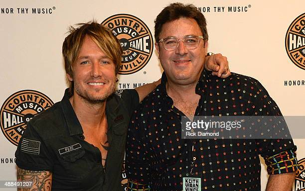 Keith Urban and Vince Gill attend Keith Urban's Fifth Annual 'We're All 4 The Hall' Benefit Concert at the Bridgestone Arena on May 6 2014 in...
