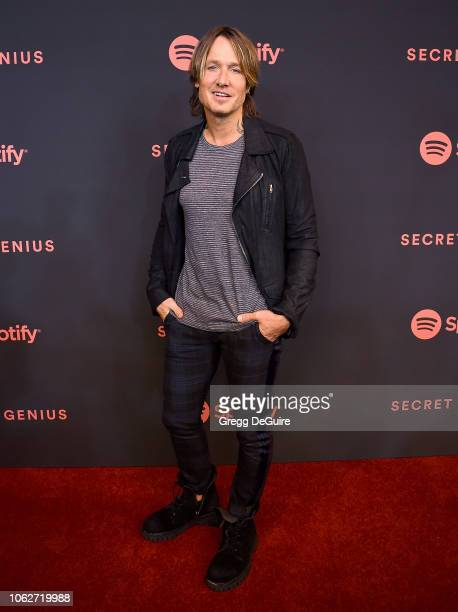 Keith Urban arrives at Spotify's 2nd Annual Secret Genius Awards at The Theatre at Ace Hotel on November 16 2018 in Los Angeles California