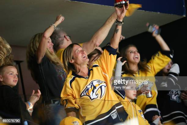 Keith Urban attend the Stanley Cup Finals Game 3 Nashville Predators Vs Pittsburgh Penguins at Bridgestone Arena on June 3 2017 in Nashville Tennessee
