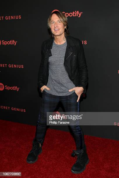 Keith Urban attends Spotify's 2nd annual Secret Genius Awards at The Theatre at Ace Hotel on November 16 2018 in Los Angeles California