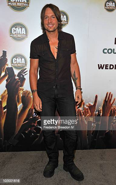 Keith Urban attends the press conference at LP Field during the 2010 CMA Music Festival on June 11 2010 in Nashville Tennessee