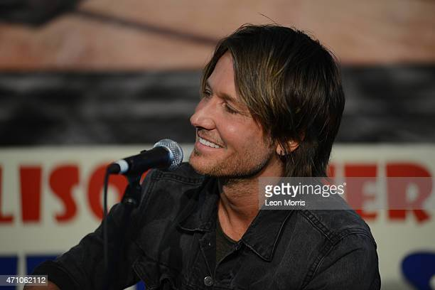 Keith Urban being interviewed on the Allison Miner Heritage Stage at the New Orleans Jazz and Heritage Festival on April 24 2015 in New Orleans...