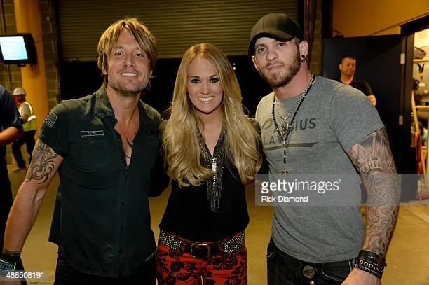 Keith Urban Carrie Underwood and Brantley Gilbert attend Keith Urban's Fifth Annual 'We're All 4 The Hall' Benefit Concert at the Bridgestone Arena...