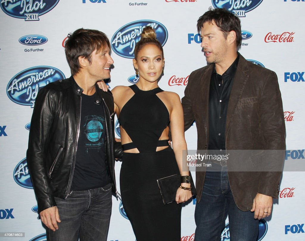 Keith Urban, Jennifer Lopez and Harry Connick Jr. arrive at Fox's 'American Idol XIII' finalists party held at Fig & Olive Melrose Place on February 20, 2014 in West Hollywood, California.