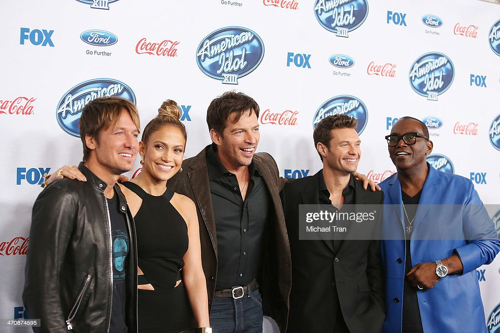 Keith Urban, Jennifer Lopez, Harry Connick Jr., Ryan Seacrest and Randy Jackson arrive at Fox's 'American Idol XIII' finalists party held at Fig & Olive Melrose Place on February 20, 2014 in West Hollywood, California.