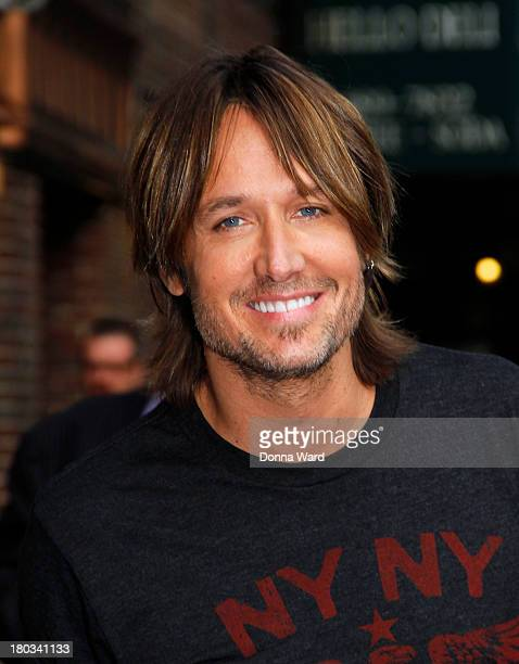 Keith Urban leaves the Late Show with David Letterman at Ed Sullivan Theater on September 11 2013 in New York City