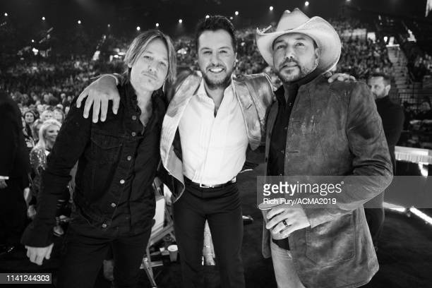Keith Urban Luke Bryan and Jason Aldean attend the 54th Academy Of Country Music Awards at MGM Grand Garden Arena on April 07 2019 in Las Vegas Nevada