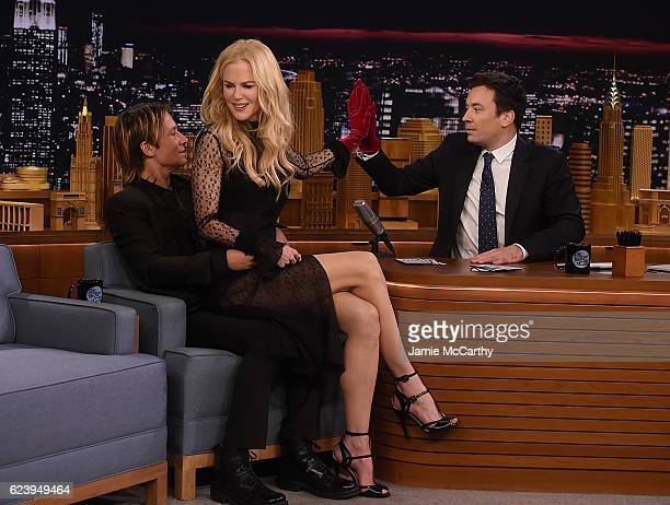 Keith Urban Nicole Kidman and host Jimmy Fallon during a segment on 'The Tonight Show Starring Jimmy Fallon' at Rockefeller Center on November 16...