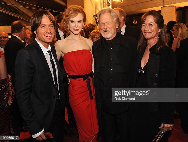 Keith Urban Nicole Kidman honoree Kris Kristofferson and Lisa Meyers attend the 57th Annual BMI Country Awards at BMI on November 10 2009 in...