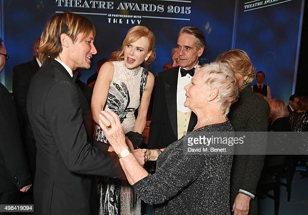 Keith Urban Nicole Kidman Jeremy Irons Dame Judi Dench and Sinead Cusack attend a champagne reception ahead of The London Evening Standard Theatre...