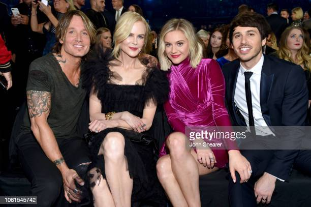 Keith Urban Nicole Kidman Kelsea Ballerini and Morgan Evans attend the 52nd annual CMA Awards at the Bridgestone Arena on November 14 2018 in...