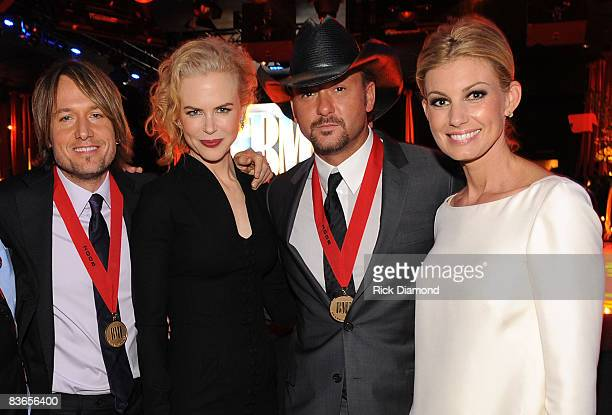 Keith Urban Nicole Kidman Tim McGraw and Faith Hill attend the 56th Annual BMI Country Awards at The BMI Building on November 11 2008 in Nashville...
