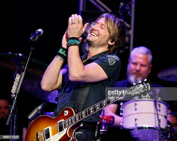 Keith Urban performs on stage during Keith Urban's Fifth Annual 'We're All 4 The Hall' Benefit Concert at the Bridgestone Arena on May 6 2014 in...