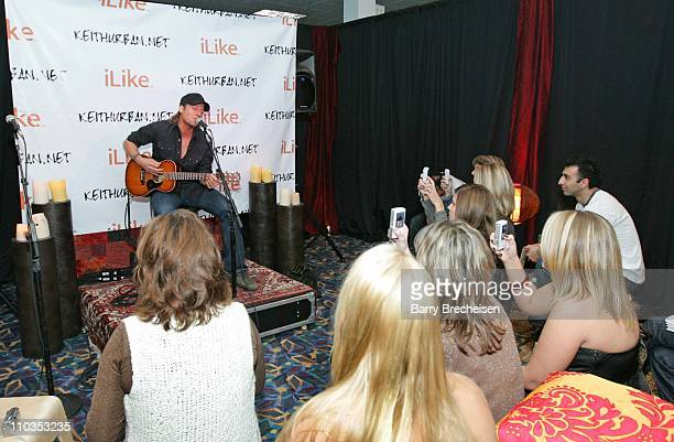 Keith Urban performs Once in a Lifetime for a selected group at the Keith Urban/iLike Press and Fan Event at the Allstate Arena in Chicago on...
