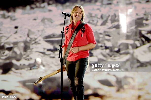 Keith Urban performs onstage at the 53rd Academy of Country Music Awards at MGM Grand Garden Arena on April 15 2018 in Las Vegas Nevada