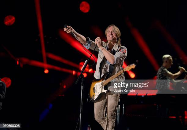 Keith Urban performs onstage during the 2018 CMA Music festival at Nissan Stadium on June 9 2018 in Nashville Tennessee