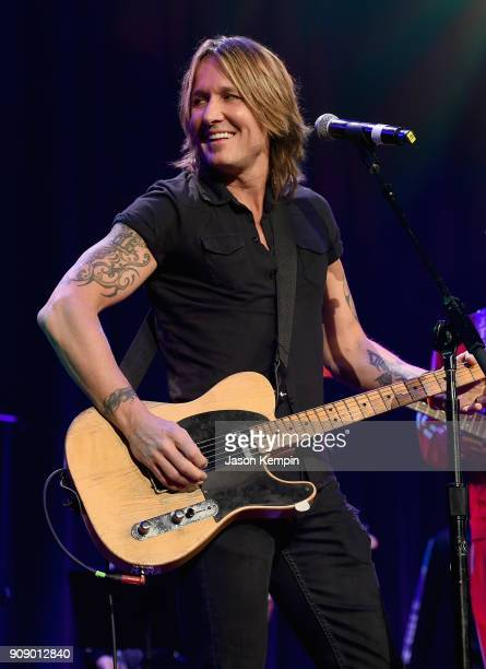Keith Urban performs onstage during the Bobby Bones The Raging Idiots' Million Dollar Show for St Jude at the Ryman Auditorium on January 22 2018 in...