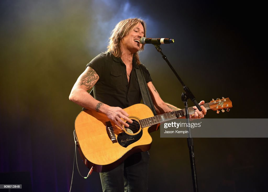 Keith Urban performs onstage during the Bobby Bones & The Raging Idiots' Million Dollar Show for St. Jude at the Ryman Auditorium on January 22, 2018 in Nashville, Tennessee.