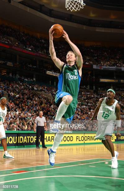 Keith Van Horn of the Dallas Mavericks goes up for a layup against the  Boston Celtics 4185fd2be