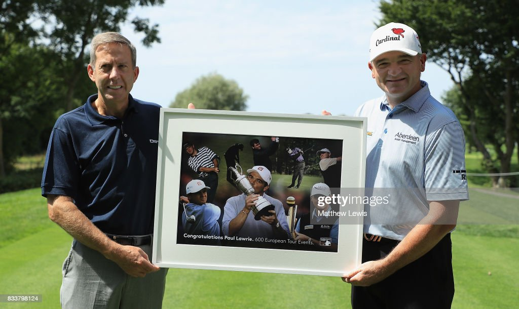 Keith Waters, European Tour Chief Operating Officer presents Paul Lawrie with a framed picture to commenorate his 600th tour event during day one of the Saltire Energy Paul Lawrie Matchplay at Golf Resort Bad Griesbach on August 17, 2017 in Passau, Germany.