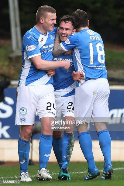 Keith Watson of St Johnstone celebrates after he scores his team's opening goal during the Ladbrokes Scottish Premiership match between St Johnstone...